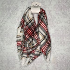 NWT Rooted Soul clothing co. Plaid frayed scarf OS